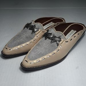 Donald Pliner silver and gold mules with frogs